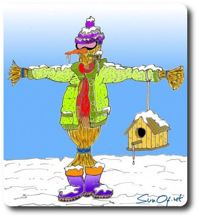 épouvantail en hiver
