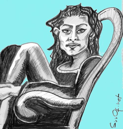 Jeune femme assise_sunof.net